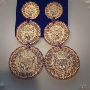 Jewelry - CAT earrings! Gold triple coin disc - BNWT